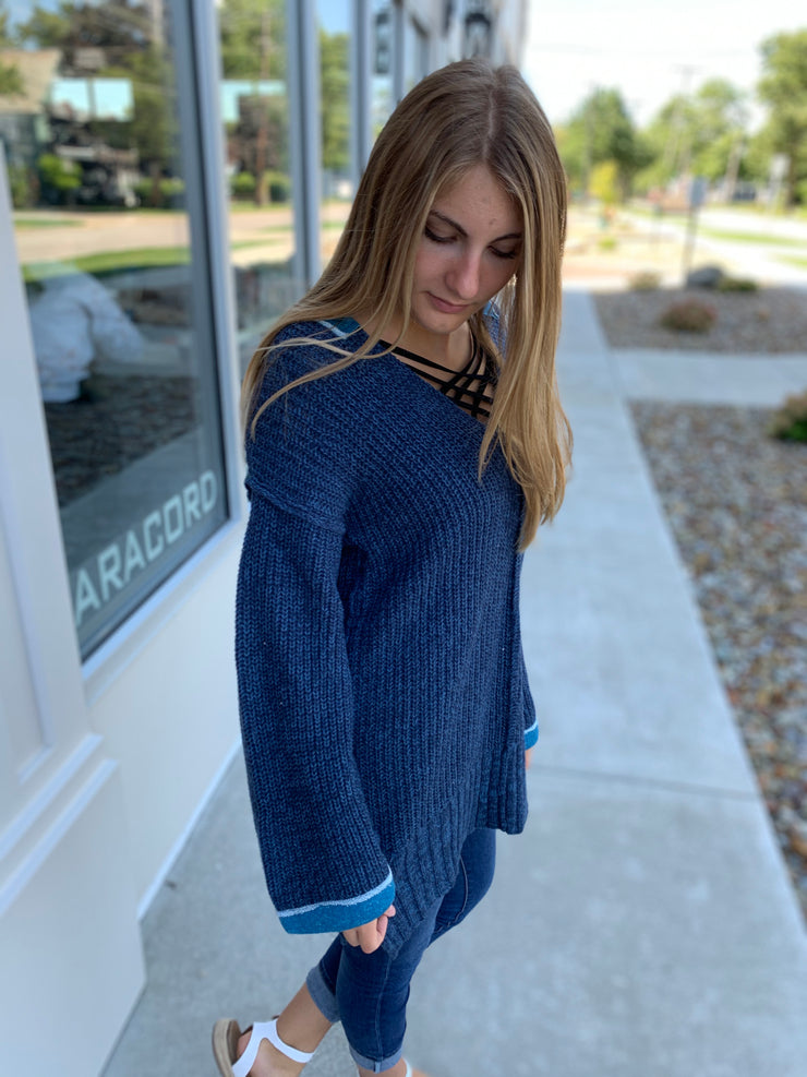 Contrast Terry V-neck Sweater