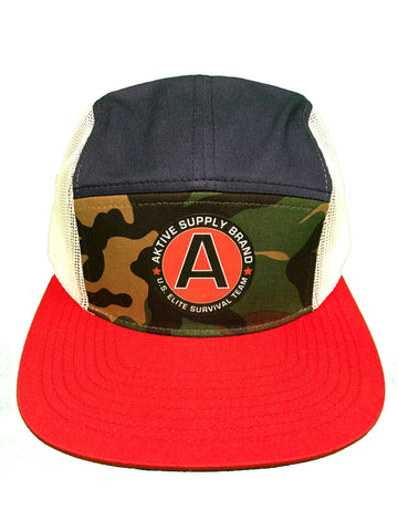 ELITE SURVIVAL 5 PANEL STRAPBACK (CAMO, NAVY, RED, WHT)