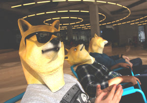 Three people sitting down wearing Doge Masks, one in front has sunglasses making him look cool