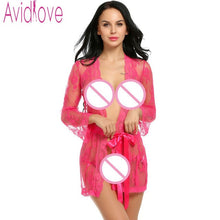 Flare Long  Sexy Lingerie  Lace Robe  Thong and Belt Dress Sleepwear Sleeve Lace Nightwear 3 Piece Set