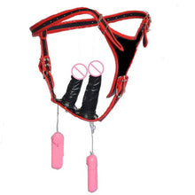 More Sensations Genuine Leather Strap on Dildo - 3pcs Removable Vibrating Penis
