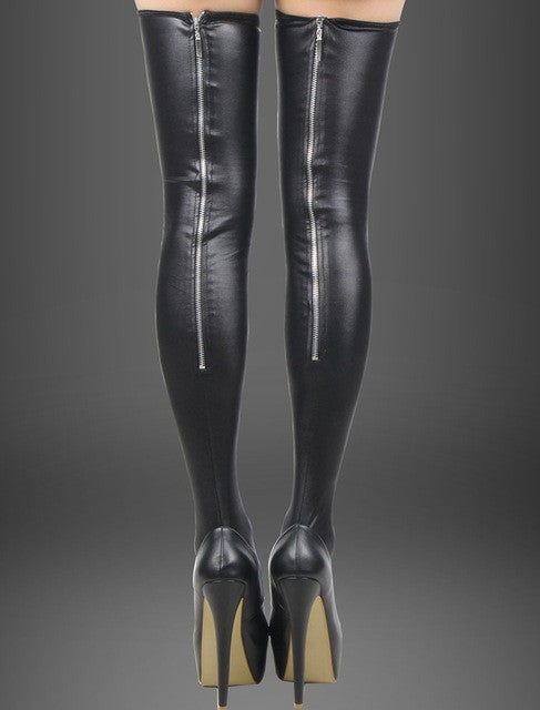 Sensual Black Leather Pantyhose  Stockings  and Erotic Back Zipper Leg Wear for Women
