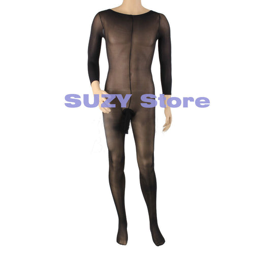 Hot and Sexy Men's Body Pantyhose -  Body stockings  Opened Sheath Sleeve Tight Stocking