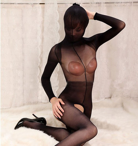 NEW Cover Head Body Transparent Pantyhose Tights Sexy  ! T-Shirt UniSex Open & Close Cocoon Body Stockings Lingerie !