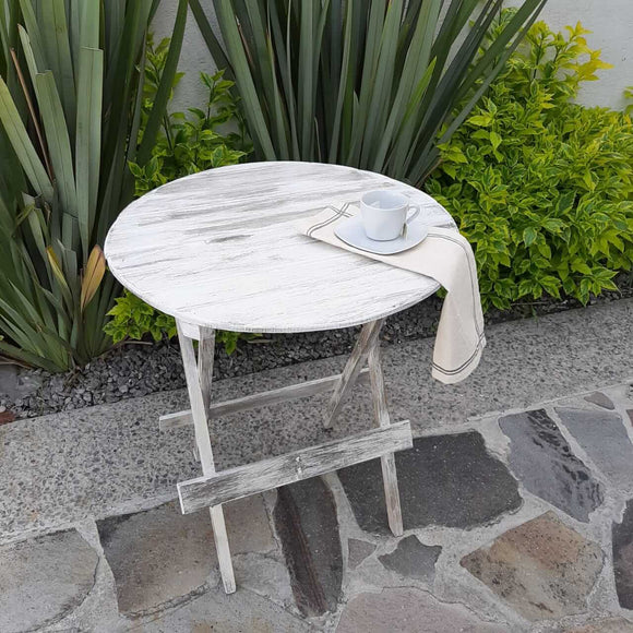 Folding circular patio wood table
