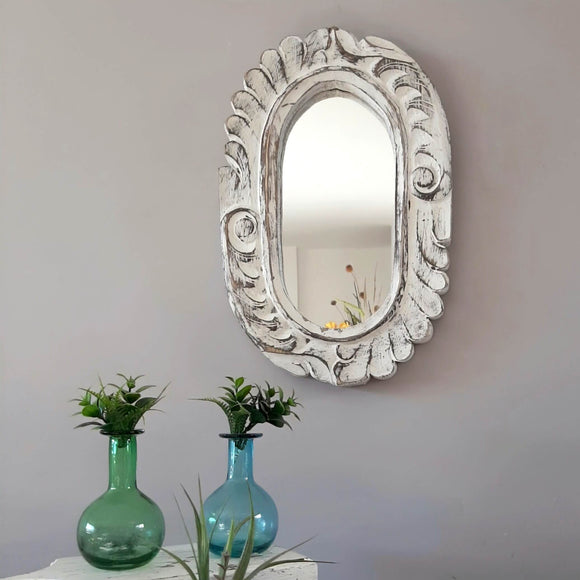 Oval Mirror With Carved Waves
