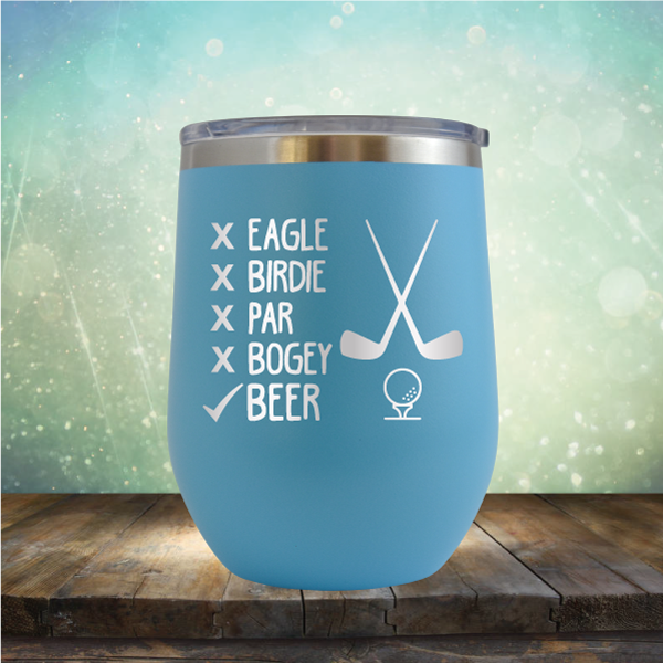 Eagle Birdie Par Bogey Beer - Stemless Wine Cup