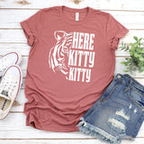 Here Kitty Kitty with Tiger - Short Sleeve Tee Shirt