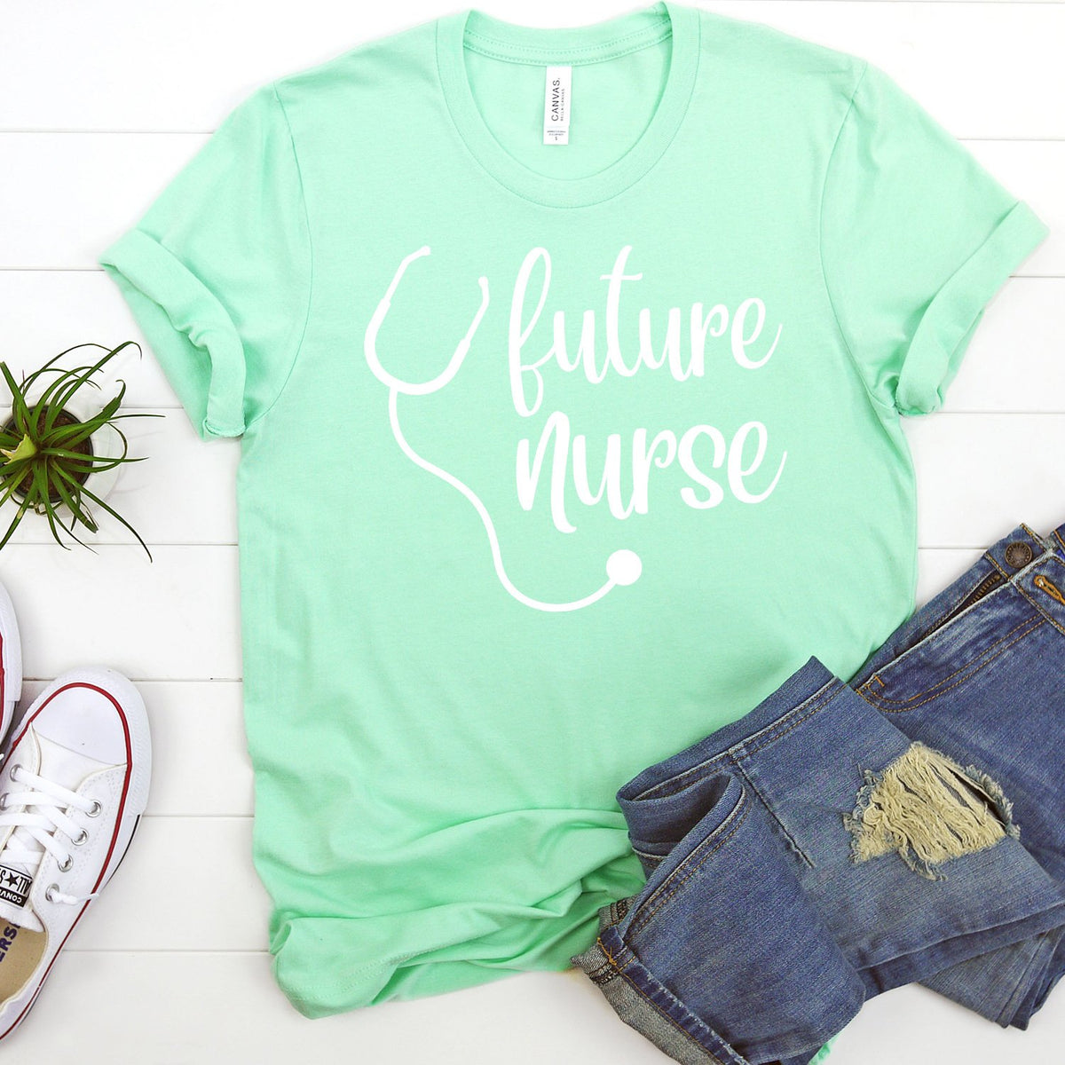 Future Nurse with Stethoscope - Short Sleeve Tee Shirt