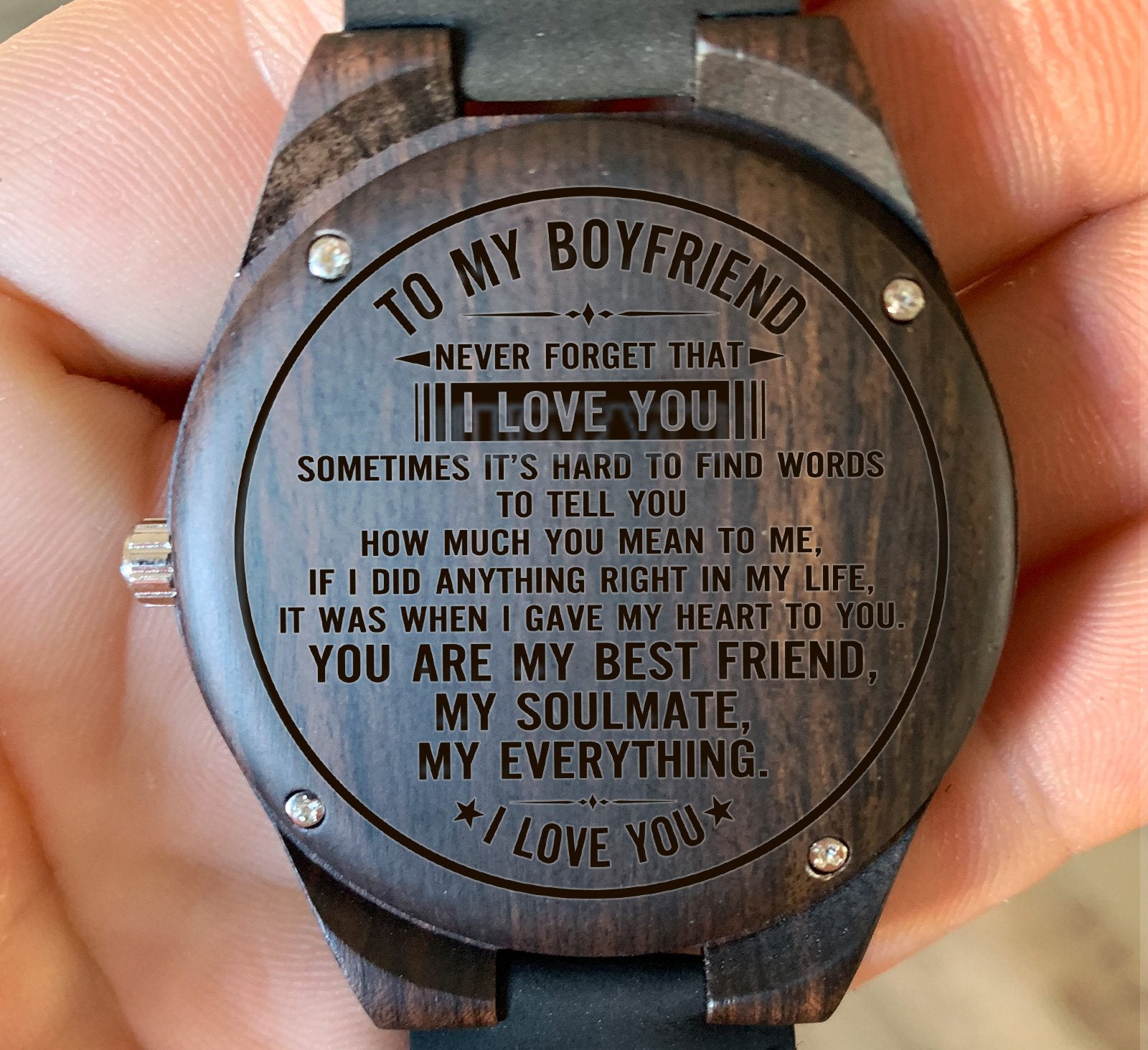 To My Boyfriend - Never Forget That I Love You - Wooden
