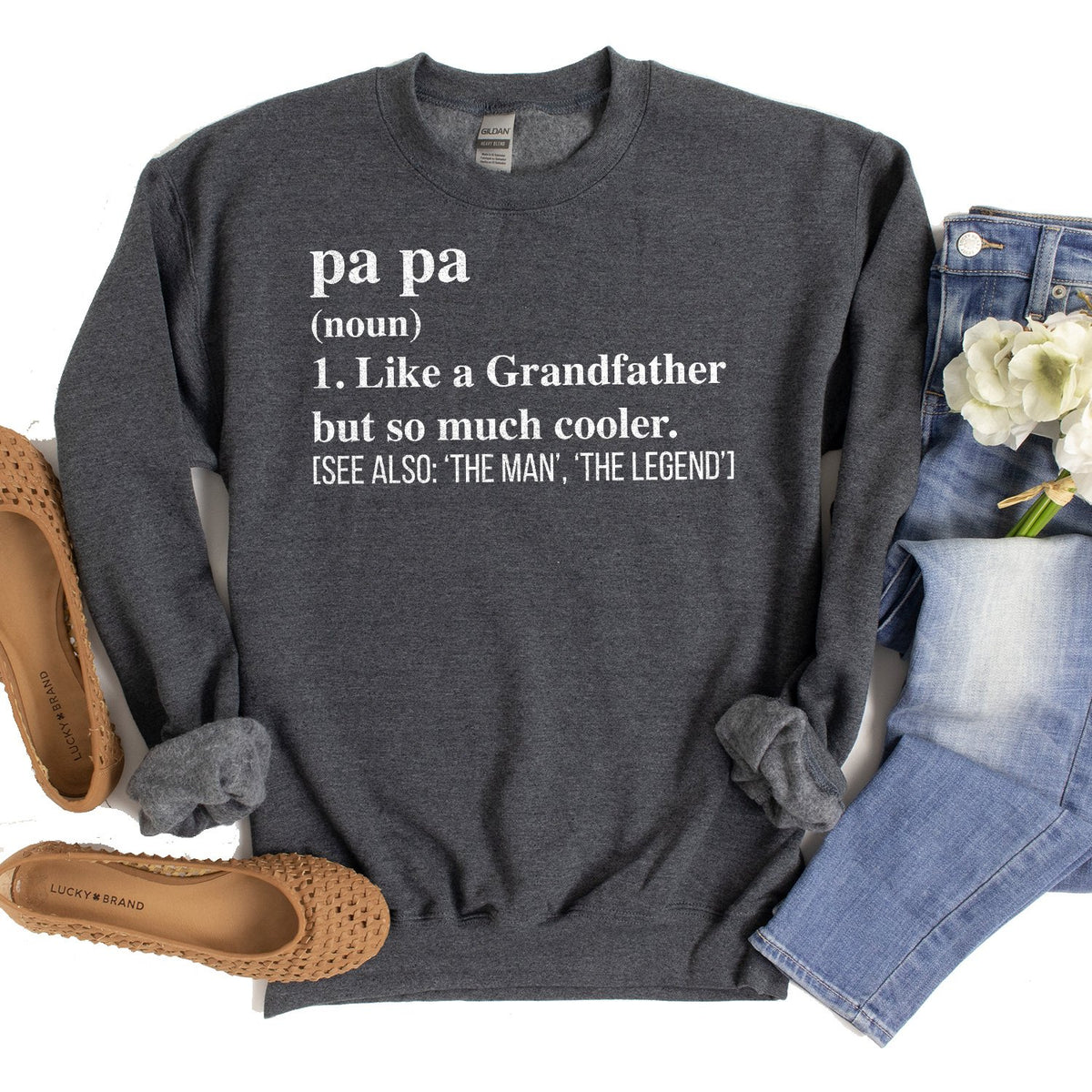 Pa Pa (Noun) 1. Like A Grandfather But So Much Cooler - Long Sleeve Heavy Crewneck Sweatshirt