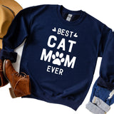 Best Cat Mom Ever - Long Sleeve Heavy Crewneck Sweatshirt