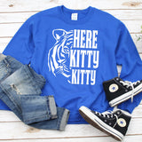 Here Kitty Kitty with Tiger - Long Sleeve Heavy Crewneck Sweatshirt