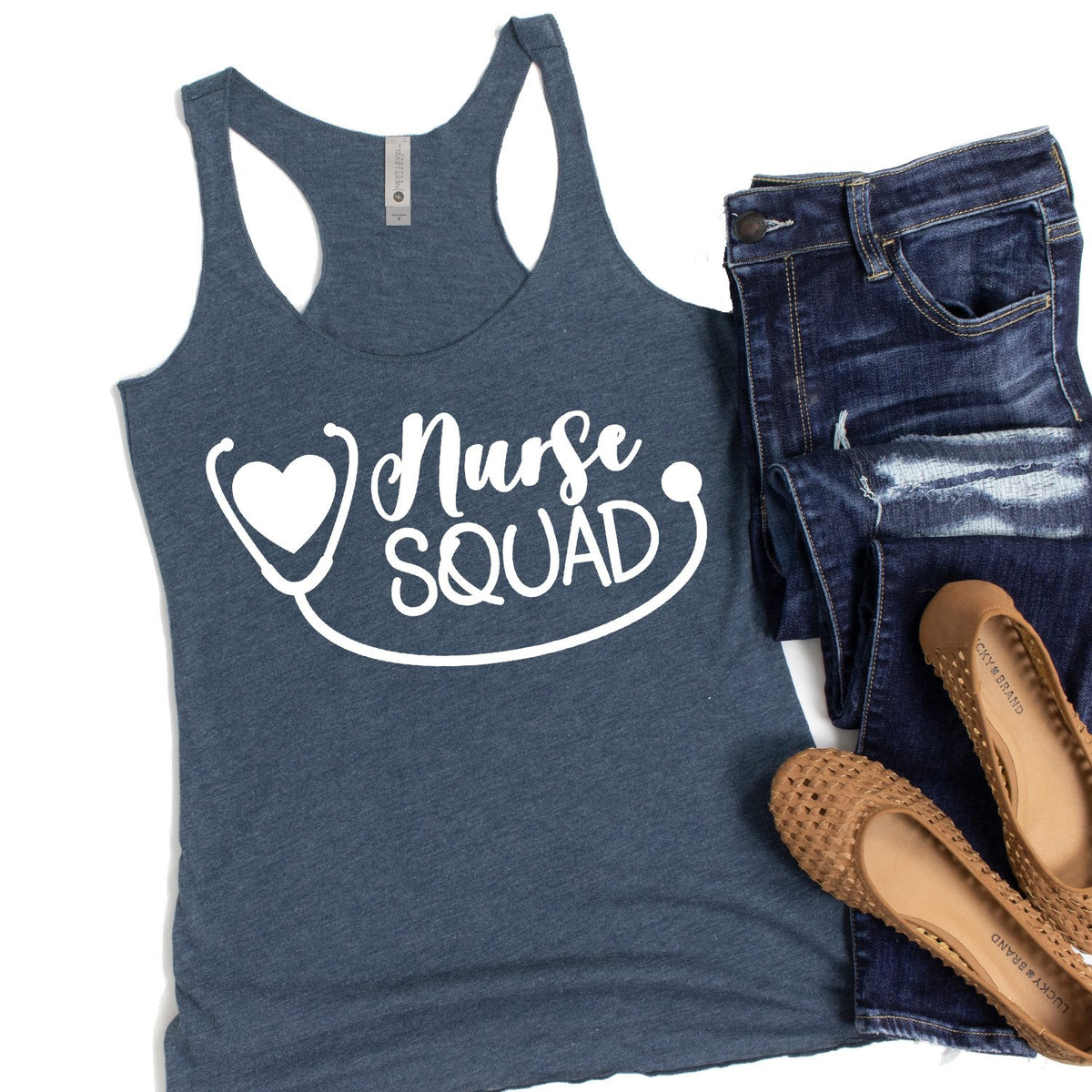 Nurse Squad with Stethoscope - Tank Top Racerback