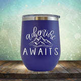 Adventure Awaits with Mountain - Stemless Wine Cup