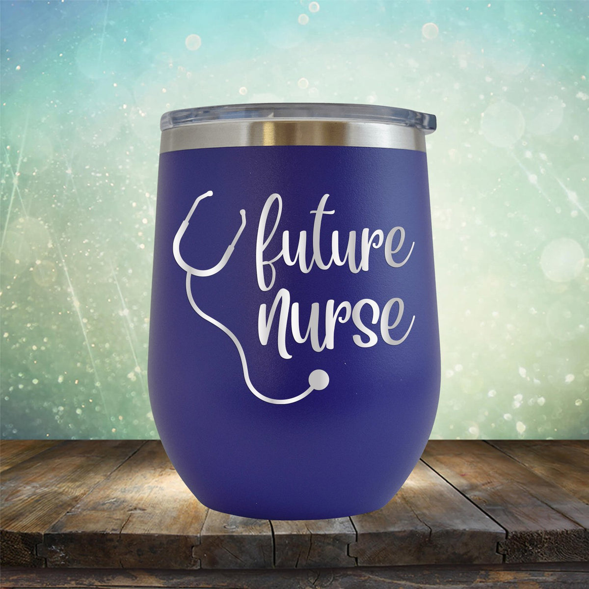Future Nurse with Stethoscope - Stemless Wine Cup