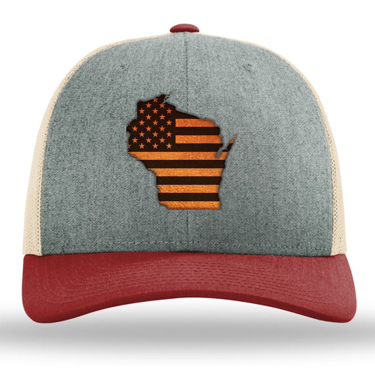 Wisconsin State USA Flag - Leather Patch Trucker Hat