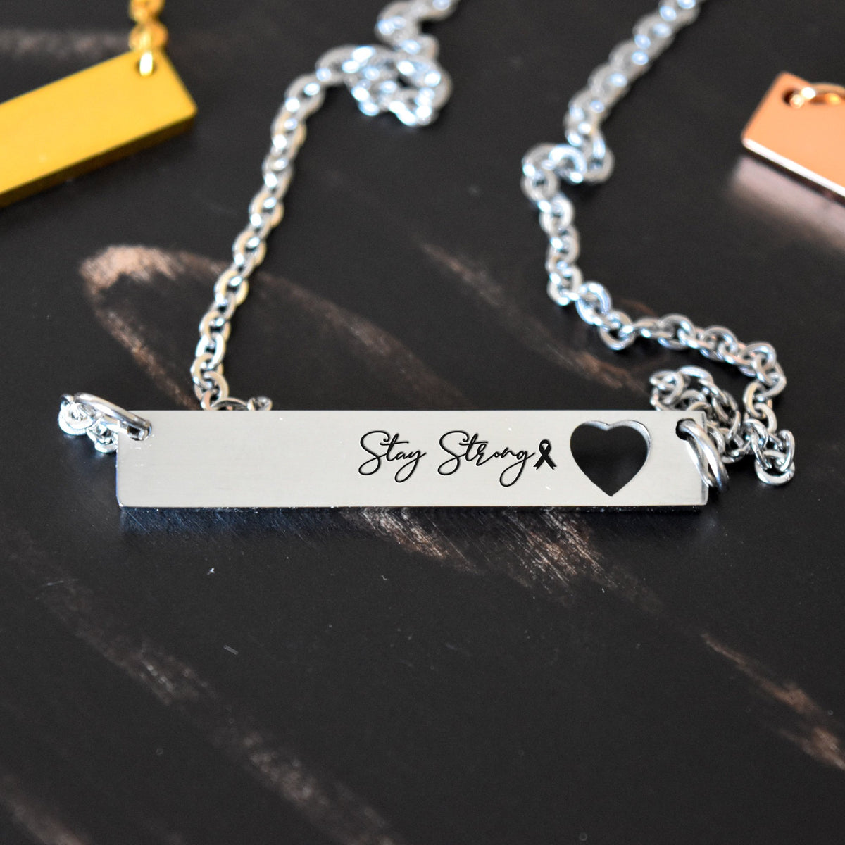 StayStrongBCA Cancer Awareness Stay Strong - Engraved Necklace