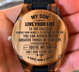 To My Son - Spread Your Wings & Fly High Up in The Air - Wooden Watch