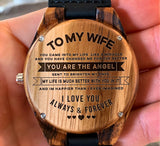 To My Wife - You Are the Angel Sent to Brighten My Days - Wooden Watch