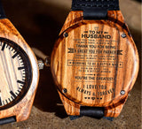 To My Husband - Thank You for Being A Great Partner through Ups and Downs - Wooden Watch