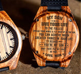 To My Son - Live Your Life to the Fullest - Wooden Watch
