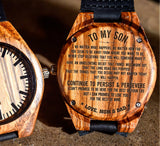 To My Son - Have an Unrelenting Belief that Things will Work Out - Wooden Watch