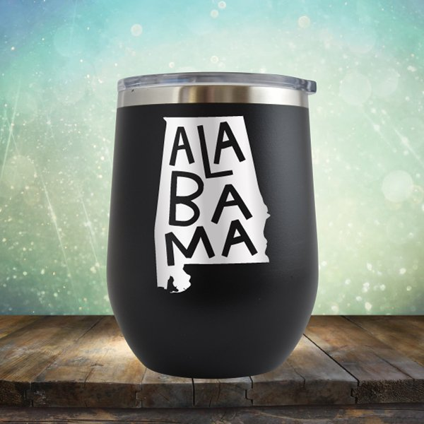 Alabama State Outline - Wine Tumbler