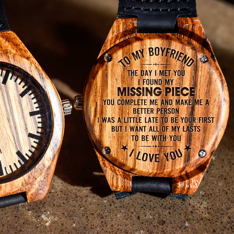 To My Boyfriend You Complete Me - Engraved Zebra Watch