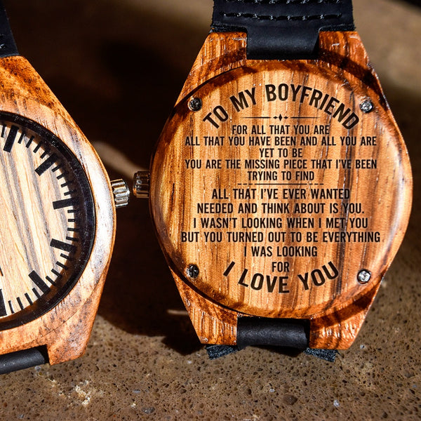 To My Boyfriend Your Everything I've Wanted - Engraved Zebra Watch