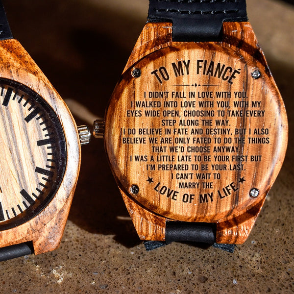 To My Fiance I Can't Wait To Marry You - Engraved Zebra Watch