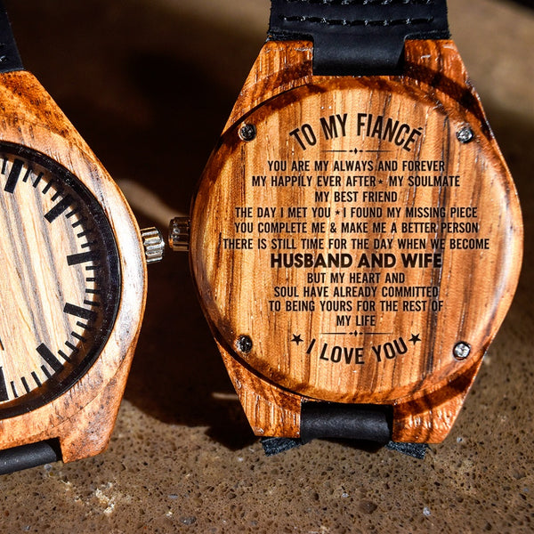 To My Fiance Your My Always And Forever - Engraved Zebra Watch
