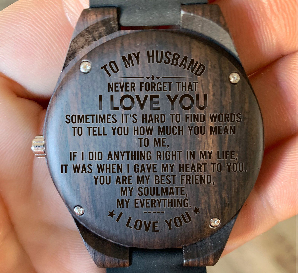 To My Husband I Love You - Engraved Zebra Watch