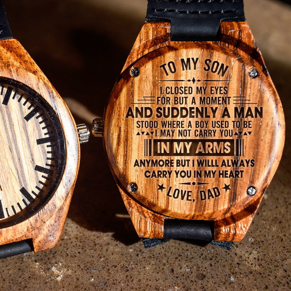 To My Son Carry You In My Heart Love Dad - Engraved Zebra Watch