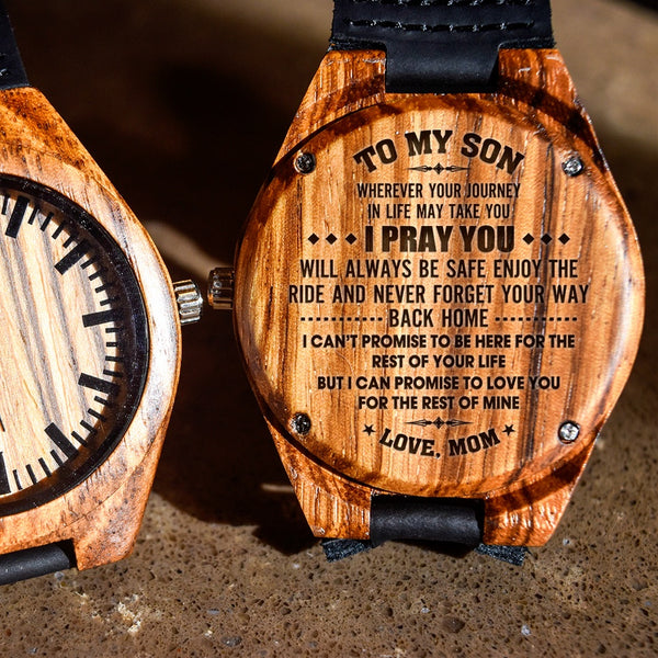 To My Son I Pray You Will Always Be Safe Love Mom - Engraved Zebra Watch