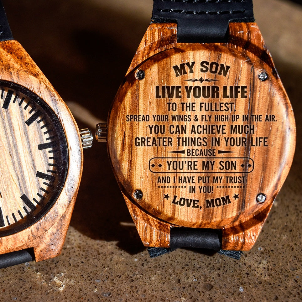 To My Son Live Your Life Love Mom - Engraved Zebra Watch