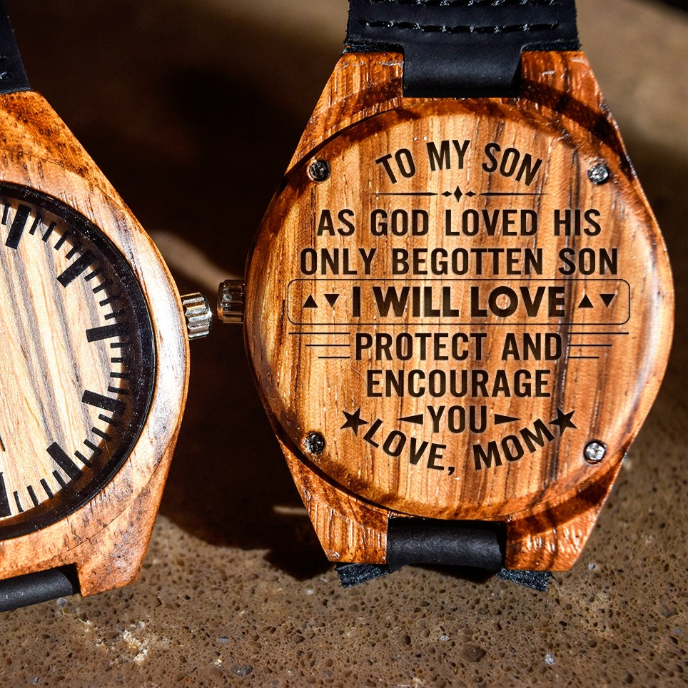 To My Son Love Protect And Encourage You Love Mom - Engraved Zebra Watch