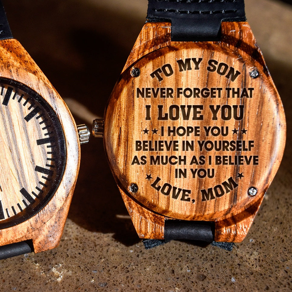 To My Son Never Forget I Love You Love Mom - Engraved Zebra Watch