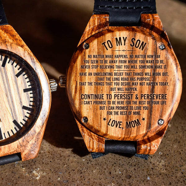 To My Son Persist & Persevere Love Mom - Engraved Zebra Watch