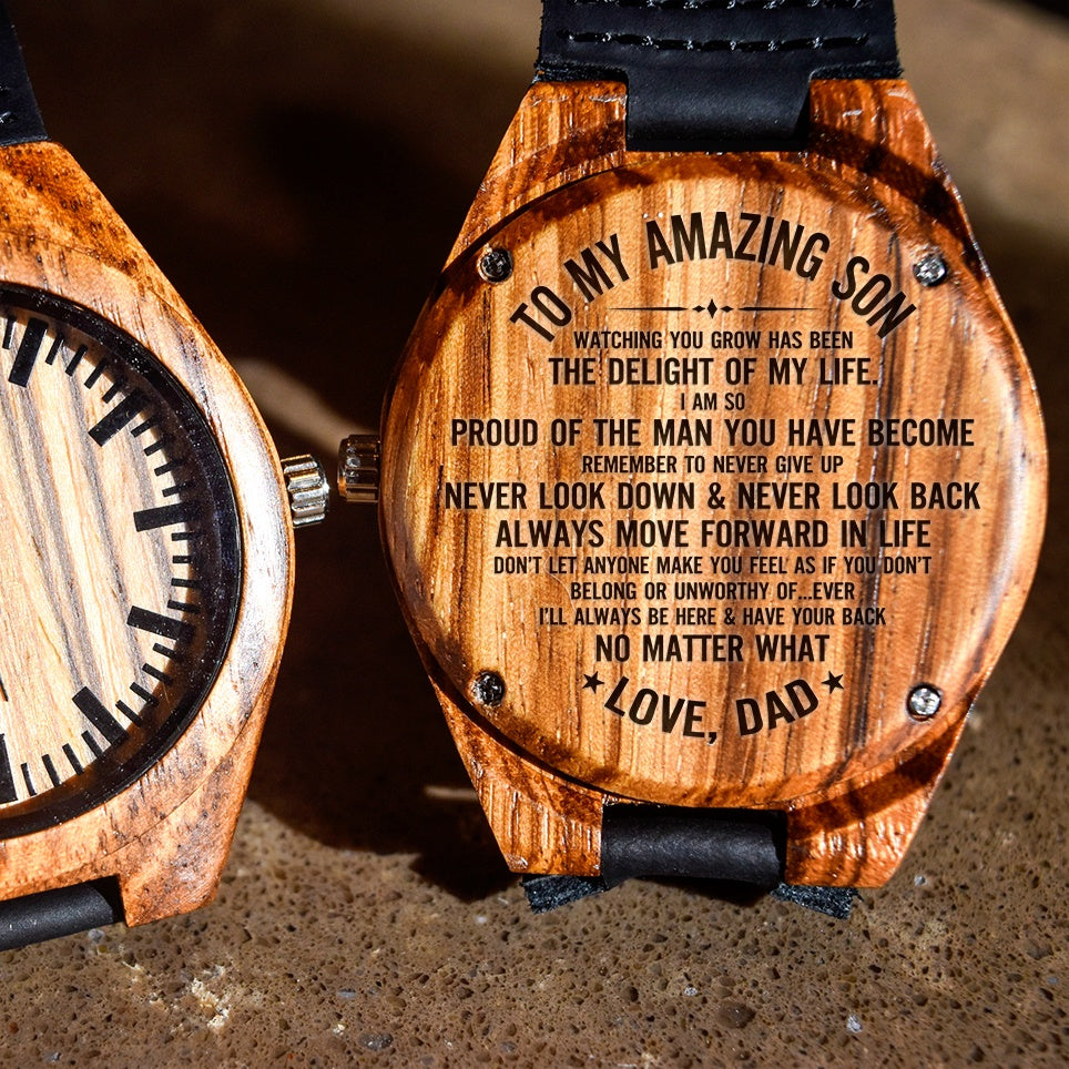 To My Son Proud Of The Man You've Become - Engraved Zebra Watch