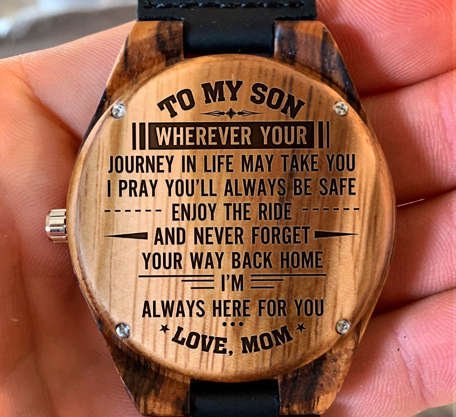 To My Son Wherever Your Journey Takes You Love Mom - Engraved Zebra Watch