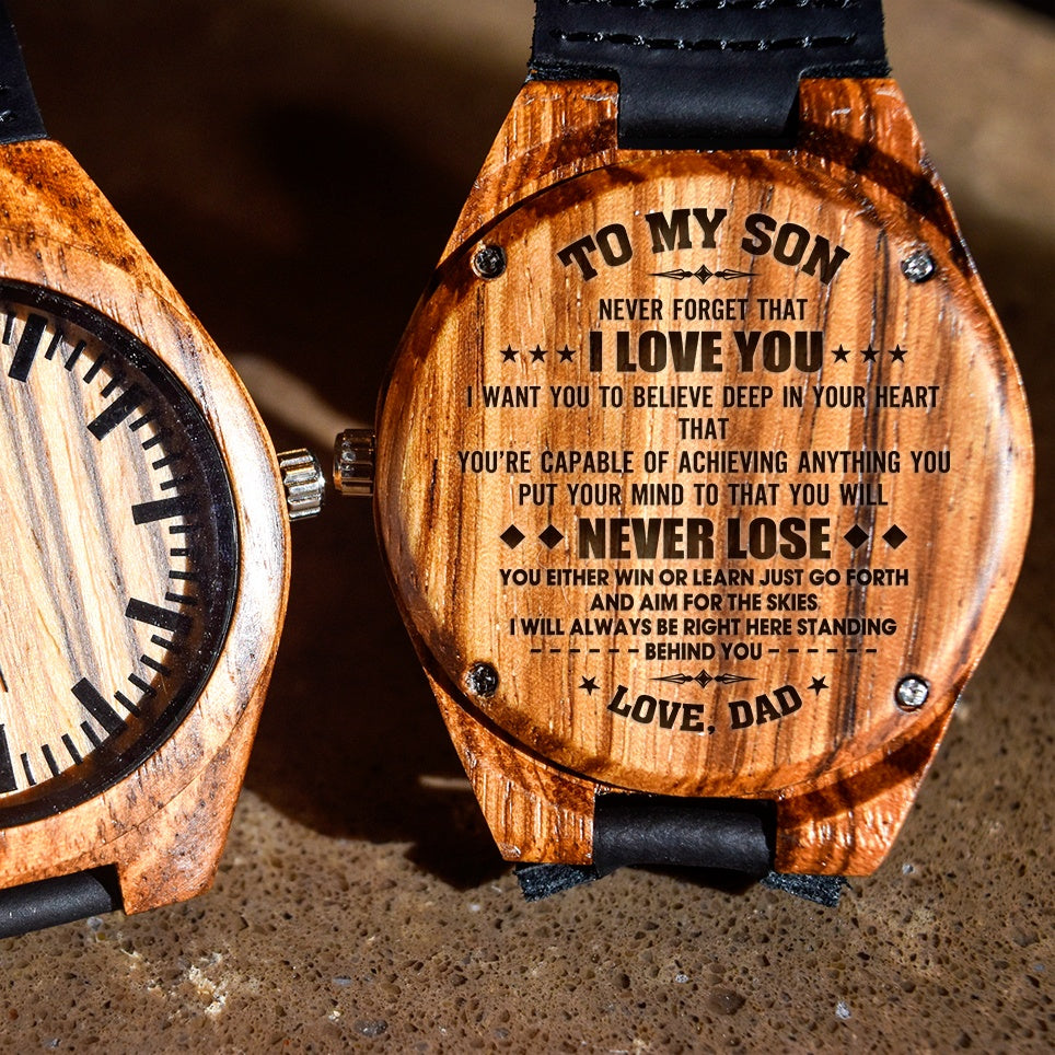 To My Son Your Capable Of Anything Love Dad - Engraved Zebra Watch