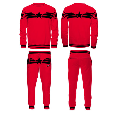 CAPT A RED/BLK LONG SLEEVE CREW NECK PANT SET