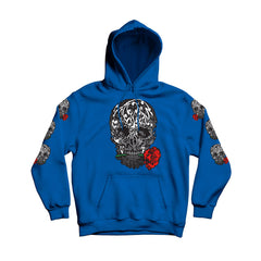 Men's Royal Blue Skull and flower pullover