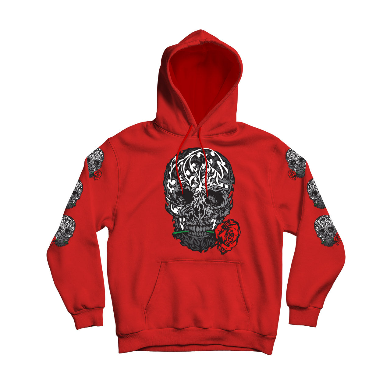 Skull Rose Royal Blue Men's Flower Pullover