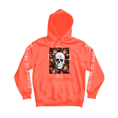 Love Kills Men's Orange Comfortable Cotton Pullover Hoodie