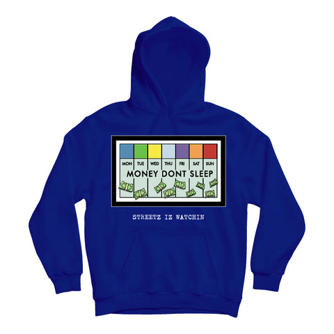 Mens Premium Money Dont Sleep Royal Hoodie