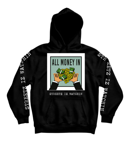 Mens Premium All Money In Blk Hoodie