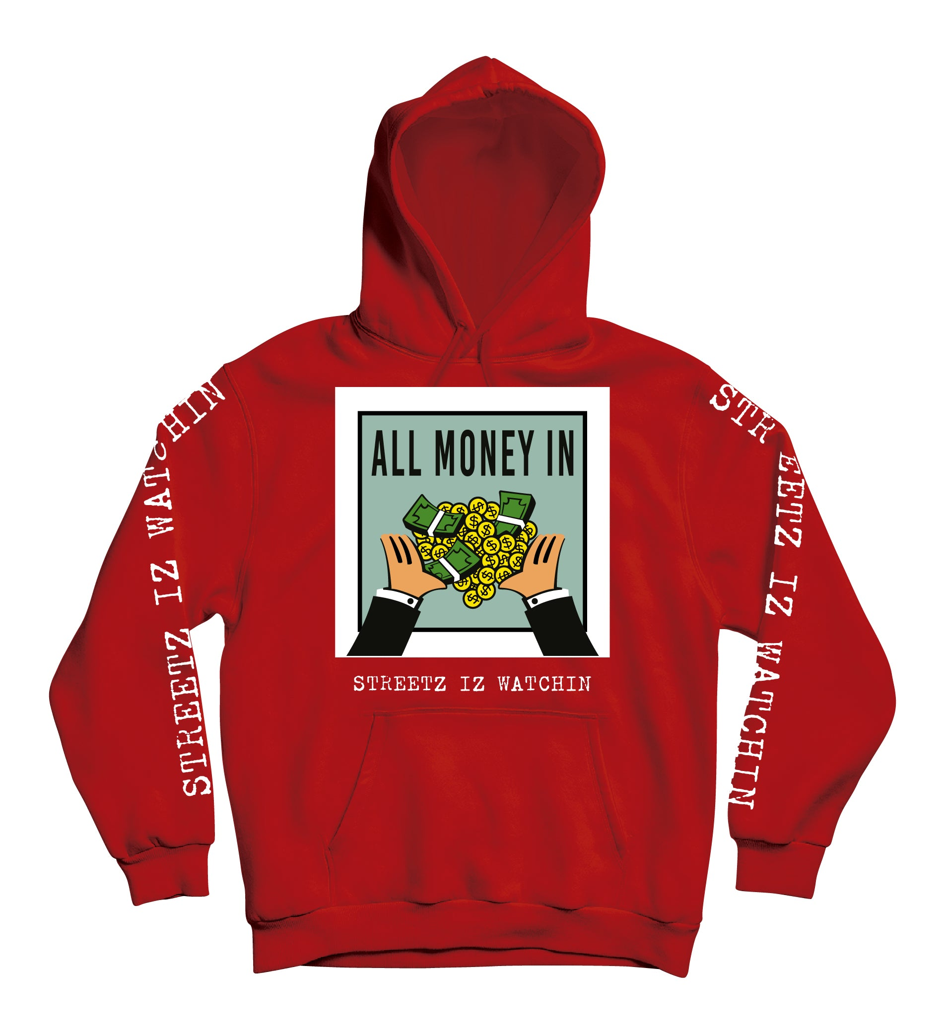 Mens Premium All Money In RED Hoodie