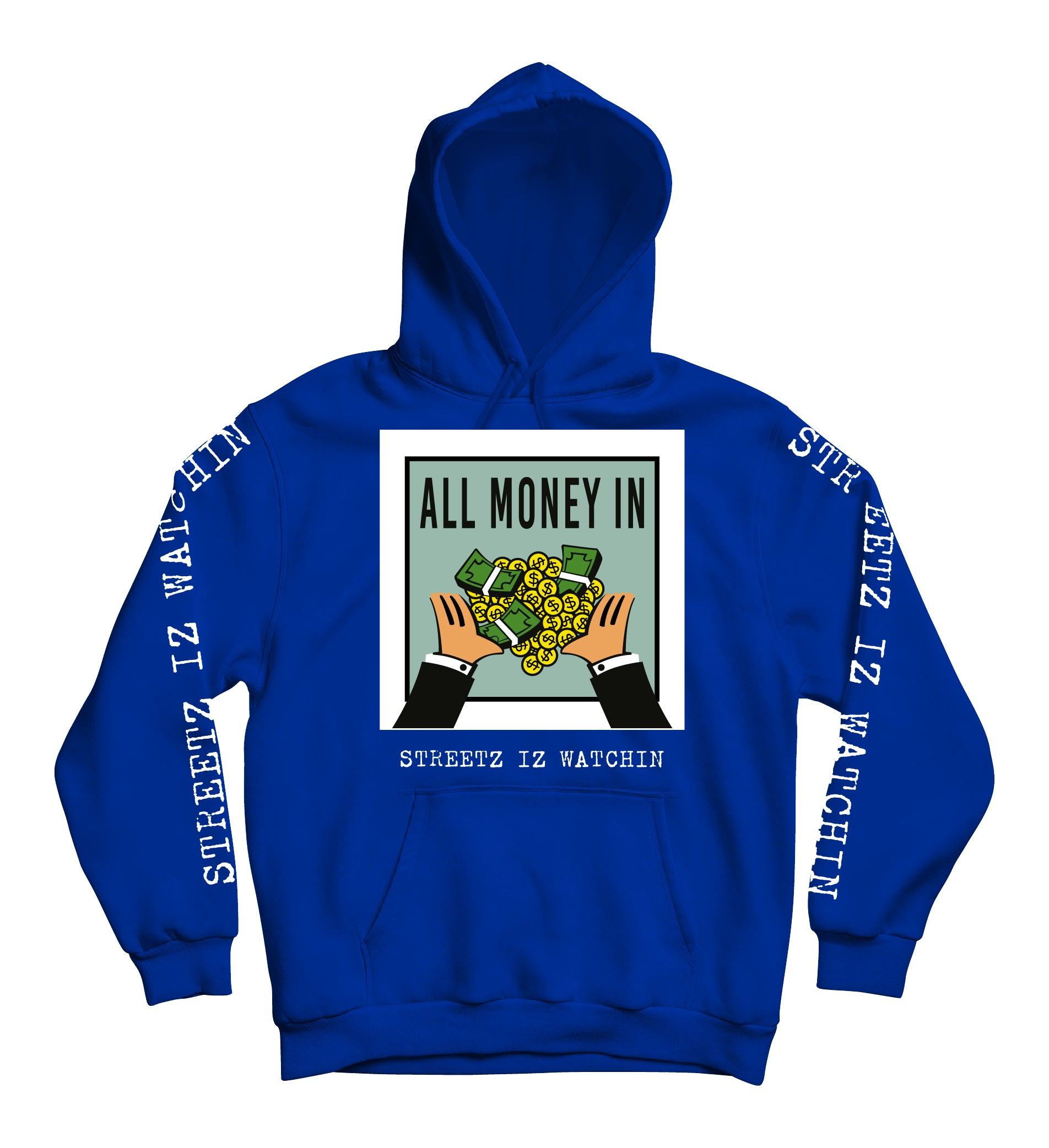 Mens Premium All Money In Royal Hoodie